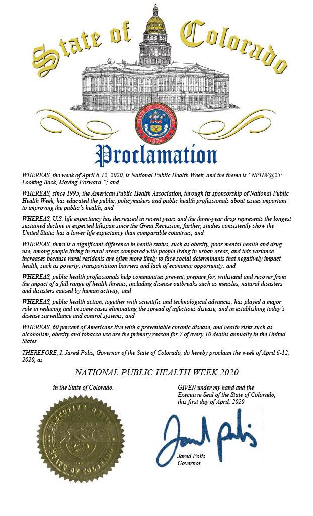 National Public Health Week Proclamation
